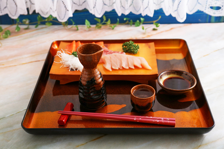 Japanese traditional cuisine sake and sashimi
