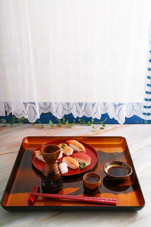 Japanese traditional cuisine sake and sushi