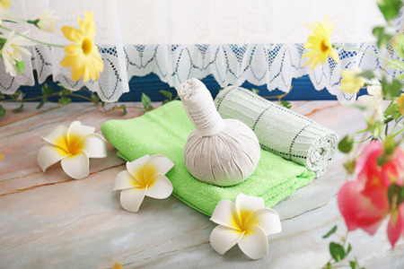 Herbal compress balls for spa treatment.