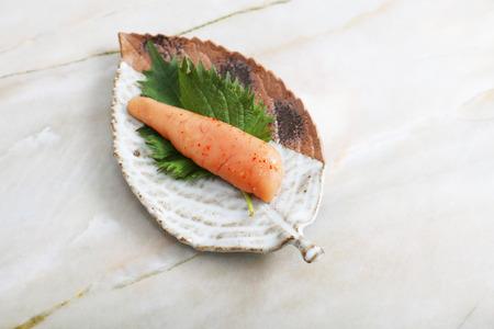 Japanese traditional cuisine seasoned cod roe. Zdjęcie Seryjne