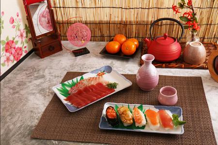 Delicious Japanese cuisine sushi and sake