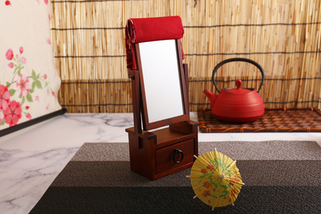 Japanese traditional style makeup mirror