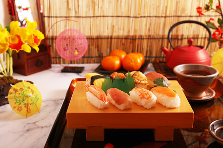 Delicious Japanese cuisine sushi on the wooden plate