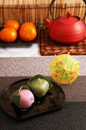 Japanese traditional delicious sweets in a dish 스톡 콘텐츠
