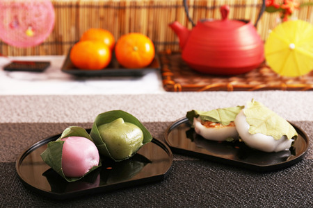 Japanese traditional delicious sweets on the dining table