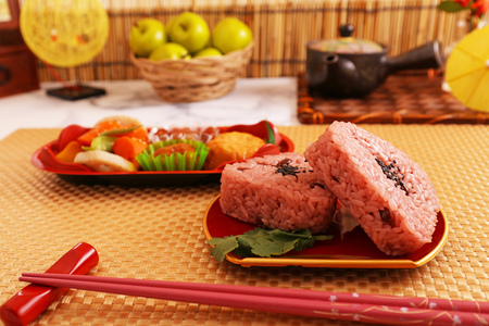 Delicious Japanese cuisine on the dining table