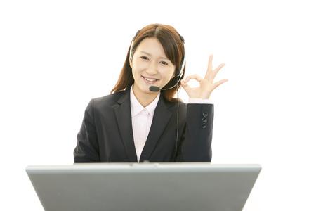 Smiling call center operator