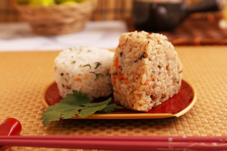 Delicious rice balls in a dish
