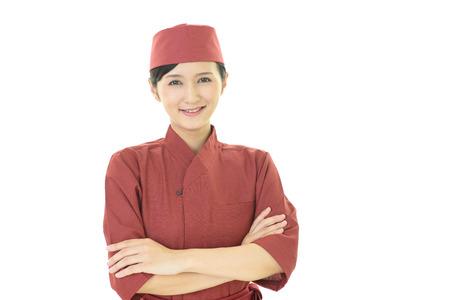 Portrait of a Japanese restaurant waitress Stockfoto