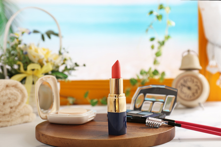 Cosmetic products on the table