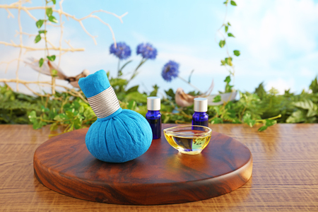 Herbal hot compress ball and essential oils