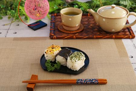 Japanese cuisine rice balls and Japanese green tea