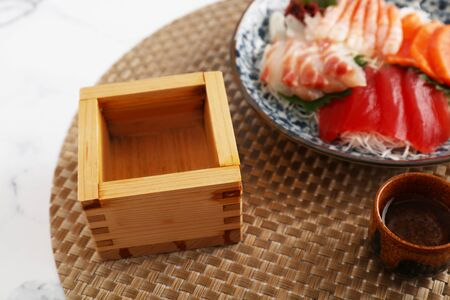 Japanese traditional cuisine sashimi and sake 写真素材 - 132108069
