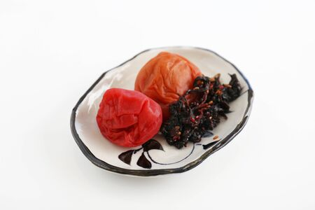 Japanese cuisine pickled plums in a dish