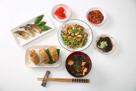 Delicious Japanese cuisines isolated on white background.