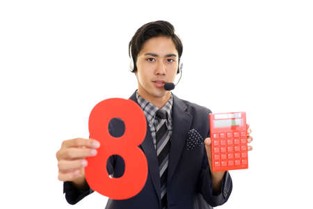 Smiling telephone operator with a number 免版税图像