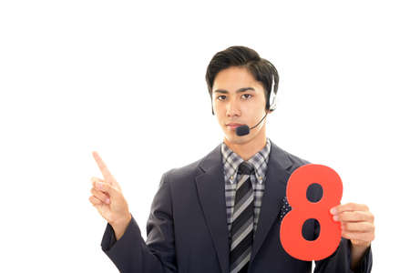 Asian telephone operator with a number