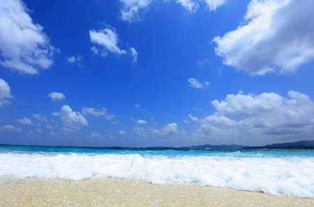 Summer sky and beautiful beach of Okinawa.