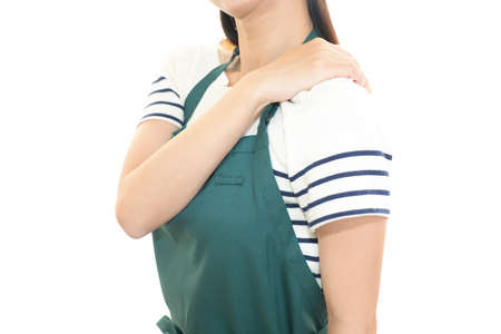 Woman who has a shoulder pain.
