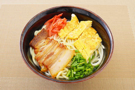 Delicious Okinawa soba noodle with belly meat.