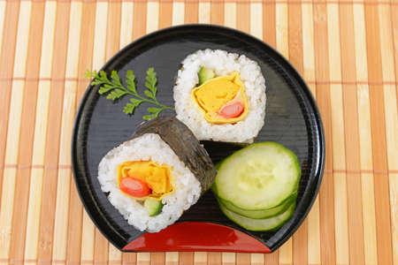 Japanese traditional cuisine sushi rolls.