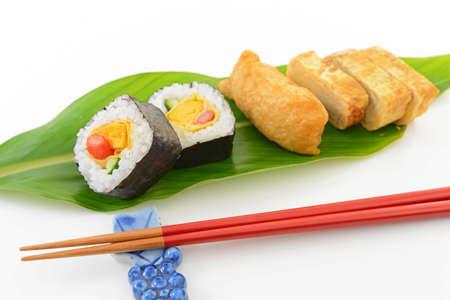 Japanese traditional cuisine Sushi Pockets with Makizushi.