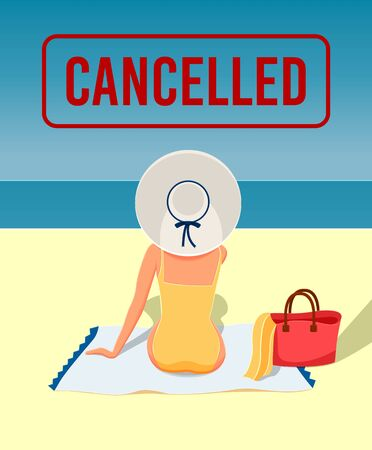 woman in a yellow swimsuit on the beach. Canceled Travel
