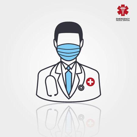 Men Doctor Icon. Vector illustration