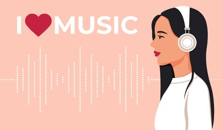 Young girl in headphones listening to music. I like music. Music wave Ilustração