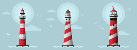 Set of the tighthouse on the seashore vector design