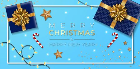 Christmas banner. Background Xmas design of sparkling lights garland, with realistic gifts box, gold stars and glitter gold confetti. blue table. Иллюстрация