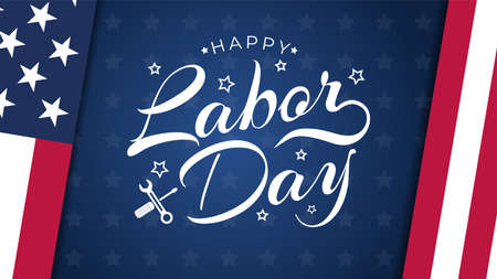 USA Labor Day greeting card with brush wood background in United States national flag colors and hand lettering text Happy Labor Day. Vector illustration.