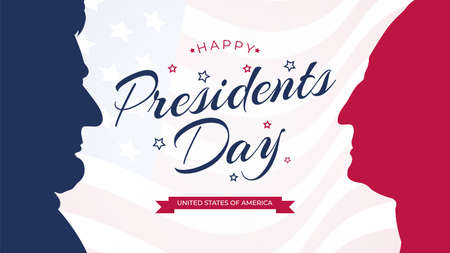 Happy Presidents Day celebrate banner with waving United States national flag and hand lettering holiday greetings. Vector illustration. Abraham Lincoln and George Washington.