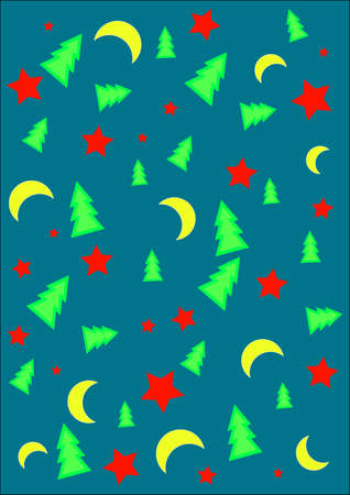 Festive abstract background with stars,moons and Christmas Trees Vector