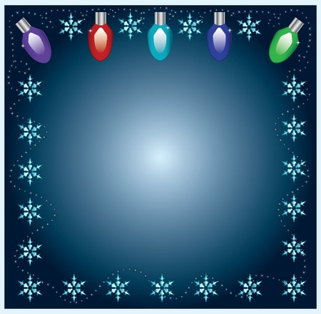 luces navidad: Luces de Navidad con copos de nieve marco sobre fondo azul Vectores