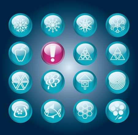 Set Of Blue Shiny Round Buttons with Snowflakes Vector