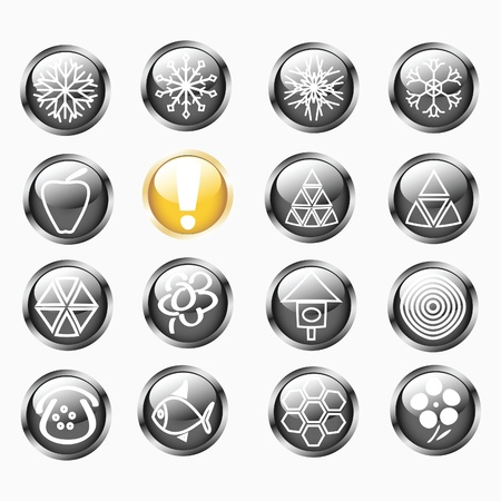 Set Of Metallic Shiny Round Buttons Stock Vector - 11601386