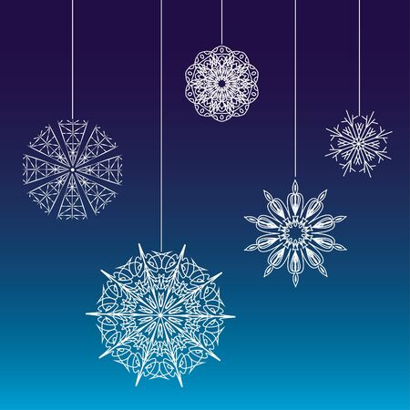 Seamless lace snowflakes on threads background  Vector