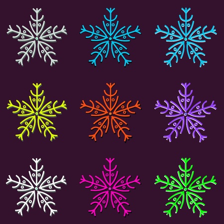 Seamless Variegated Snowflakes Background ornament Vector