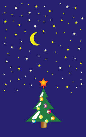 spruce tree: Spruce tree at night stars shine and the moon as card or background