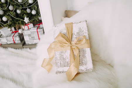 fluffy: New Years surprise on white fluffy chair