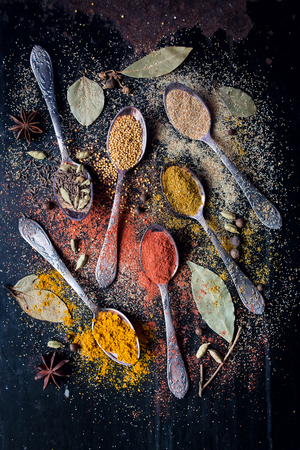 dry powder: Dry powder of seasonings. Asian colorful aroma condiment. Stock Photo