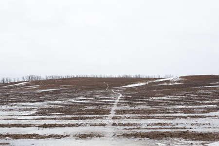 granizados: Campo con el aguanieve y la carretera en invierno los días nublados Marky Foto de archivo