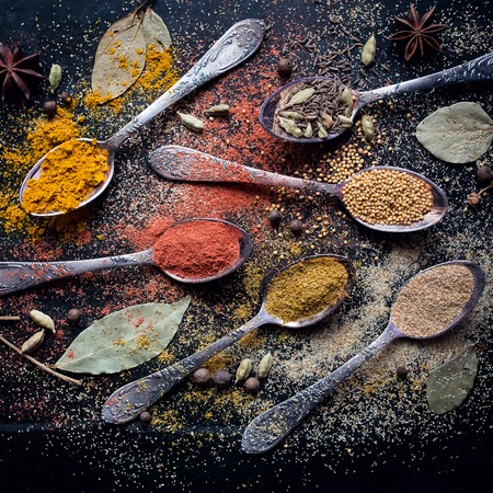 condiment: Dry powder of seasonings. Asian colorful aroma condiment. Stock Photo