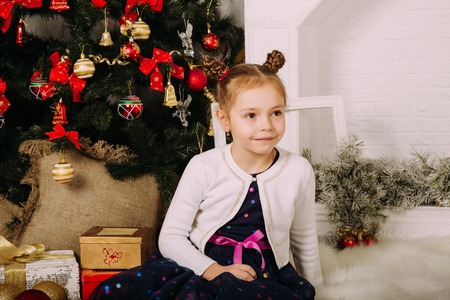 brown  eyed: Beautiful chestnut head girl at the Christmas background Stock Photo