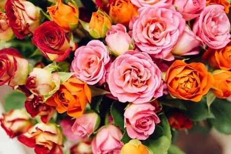 rosas naranjas: rosas de color rosa y naranja ramo de arriba