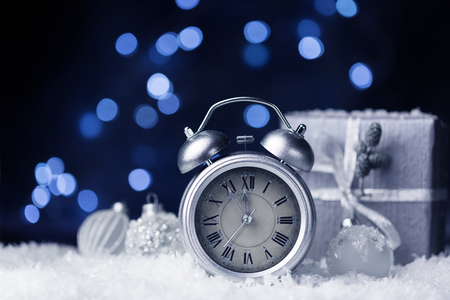 Nearly twelve o'clock, New Year dark festive background, copy space Archivio Fotografico