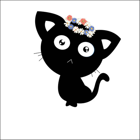afield: A cat of  flower crown. Stock Photo