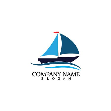 Sailing boat, Daily cruises, sea travel, vector logo-icon