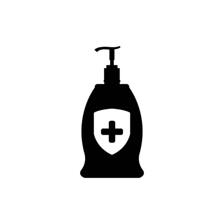 Hand sanitizer bottle icon isolated on white background. Disinfection concept. Washing gel. Alcohol bottle for hygiene.Vector Illustration